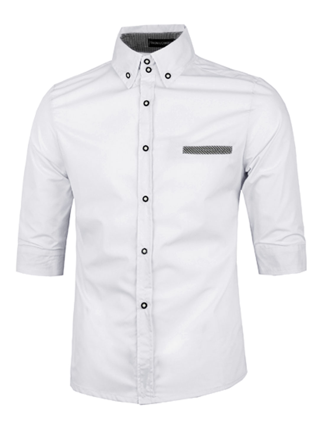 Man 1/2 Sleeves Single Breasted Front Chic White Casual Shirts M