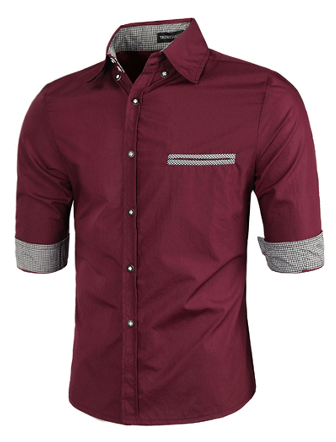 Men Fashion Roll-up Cuffs Half Sleeves Burgundy Casual Shirts M