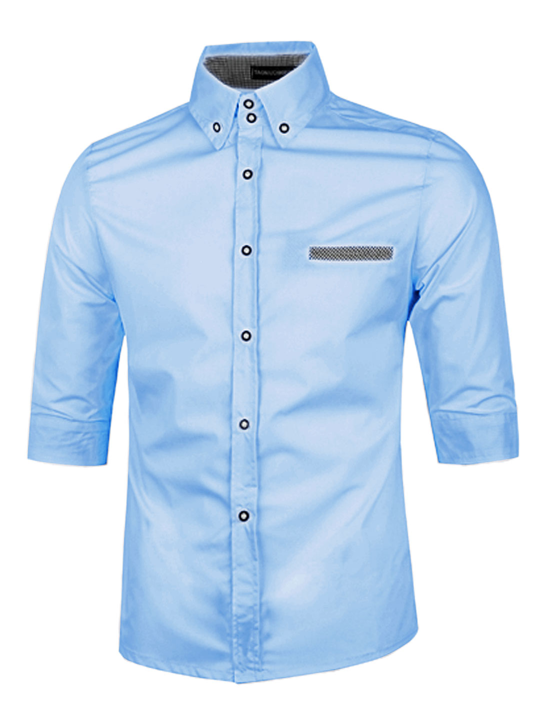 Button Closed 1/2 Sleeves Light Blue Casual Shirts for Man M