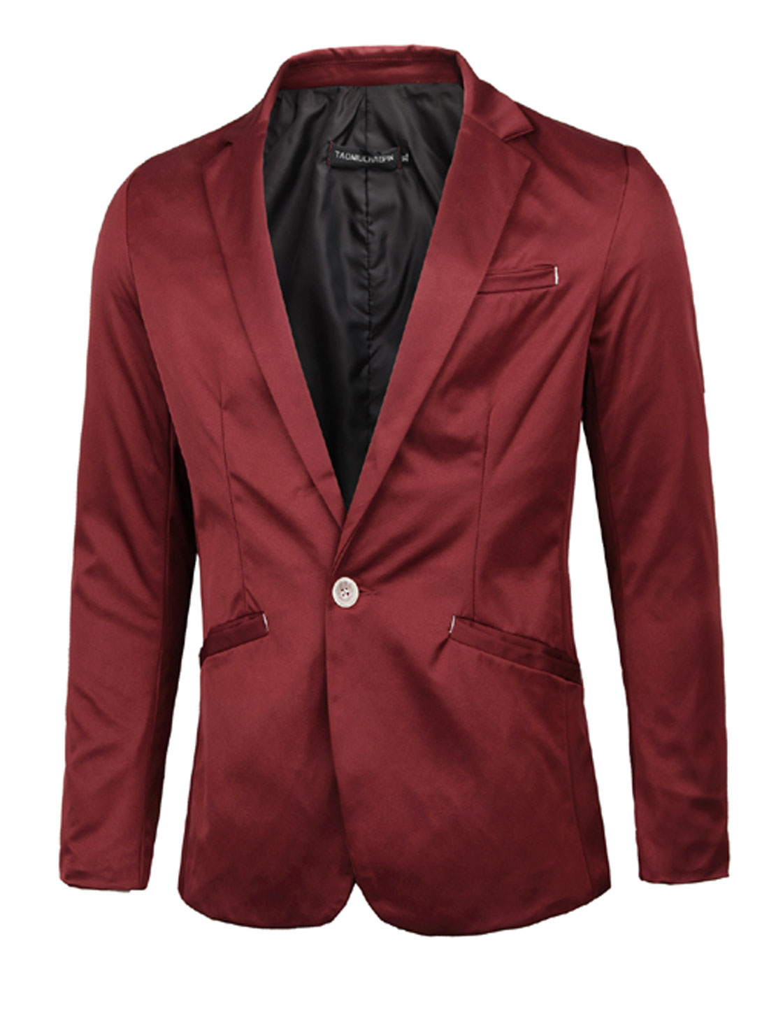 Man One Button Front Full Sleeve Slim Fit Burgundy Blazer Jacket M