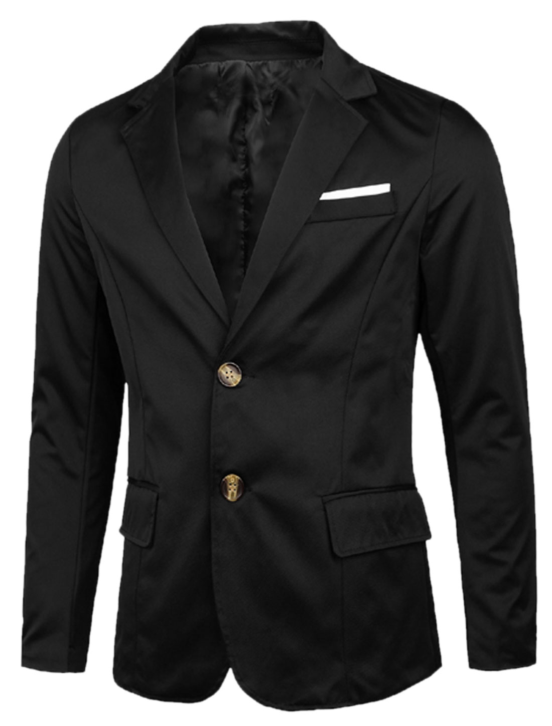 Notched Lapel Long Sleeves Casual Blazer for Men Black M