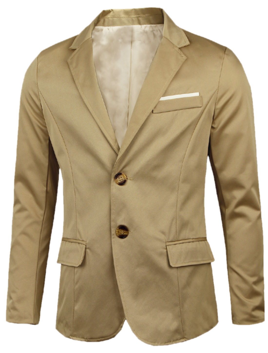 Notched Lapel Two Flap Pockets Front NEW Blazer for Men Khaki M