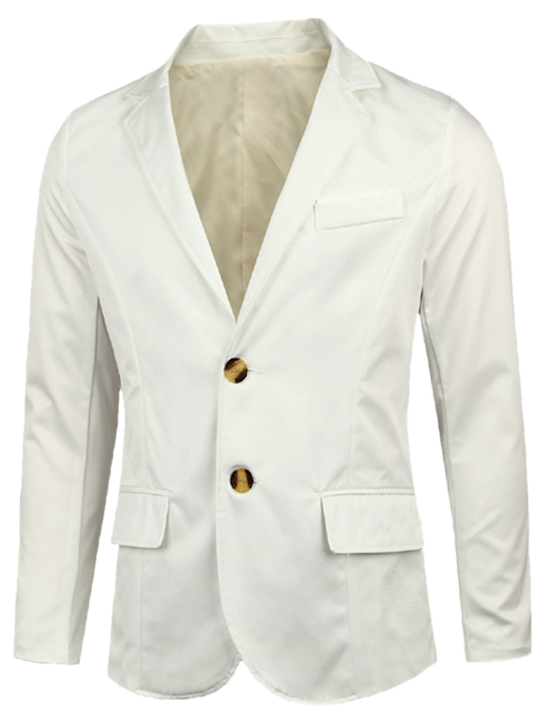 Notched Lapel Double Pockets Front New Style Blazer for Men White M