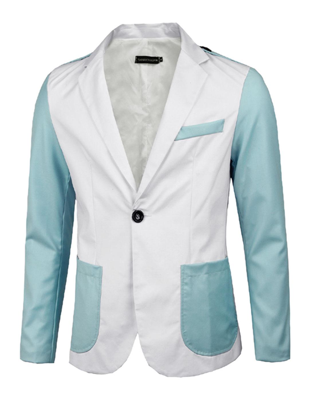 Men White Single Breasted Color Block Front Pockets Split Back Blazer Jacket M