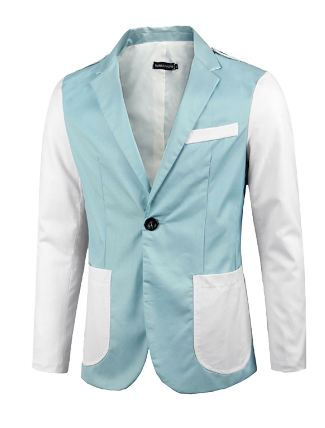 Men Light Blue Zip Closure Color Block Notched Lapel Split Back Blazer Jacket M