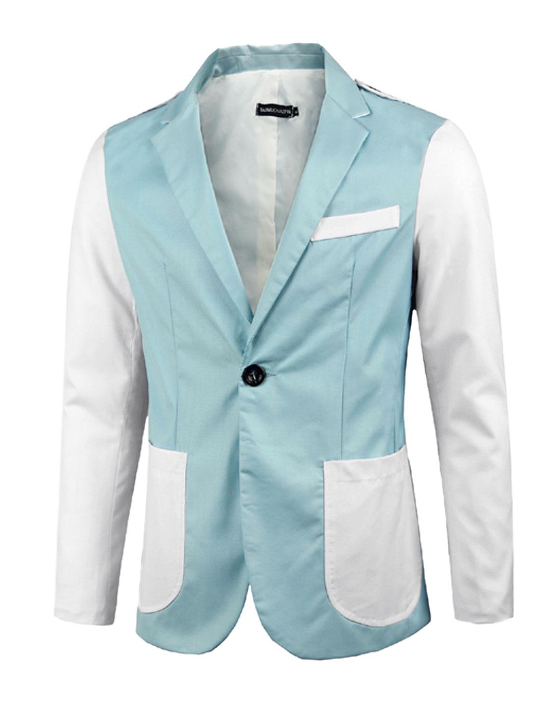 Men Light Blue Zip Closure Color Block Notched Lapel Split Back Blazer Jacket M