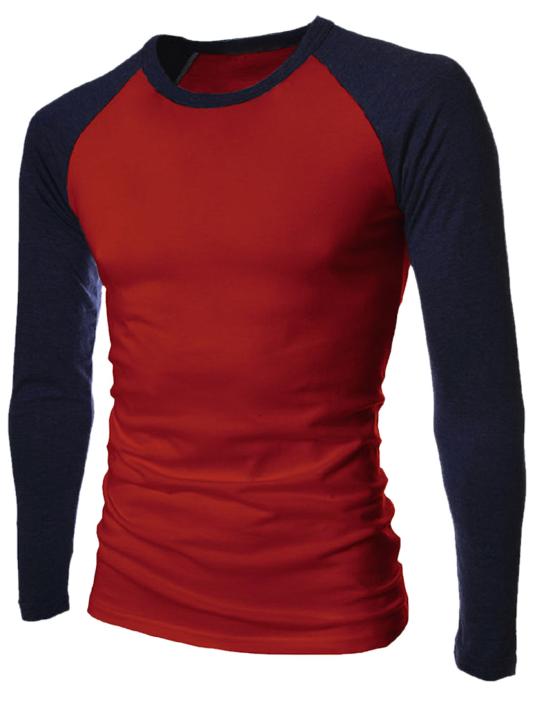 Round Neck Raglan Sleeves Contrast Color Casual T-Shirt for Men Burgundy Navy Blue S
