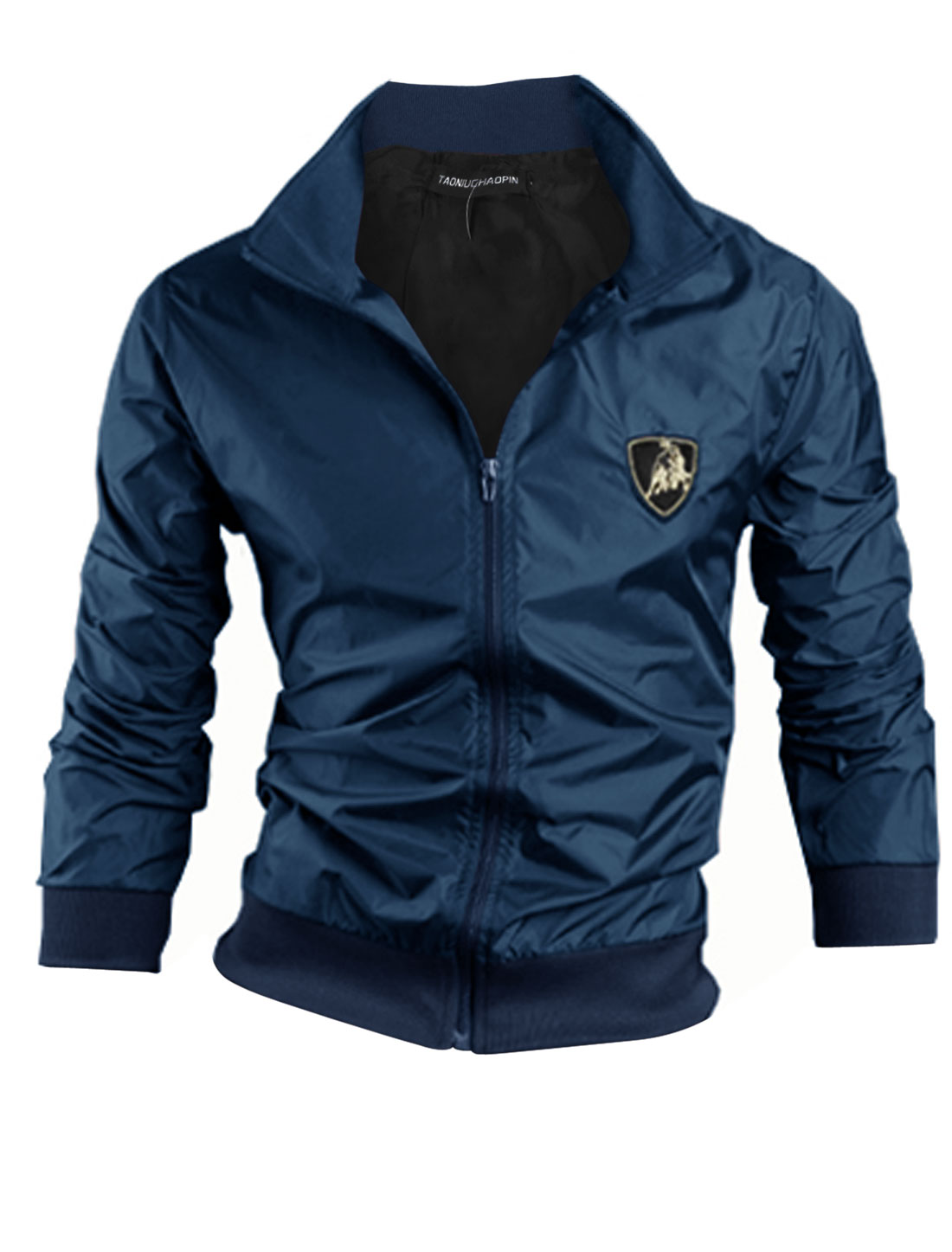 Convertible Collar Long Sleeves Casual Windbreaker for Men Navy Blue M