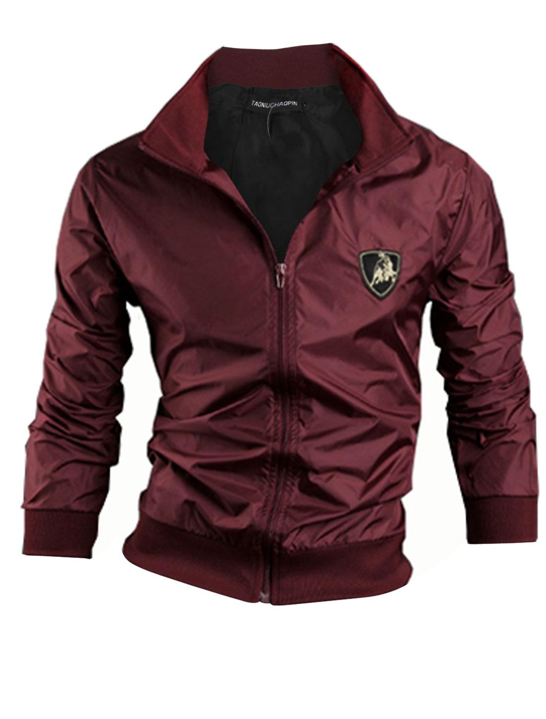 Men Convertible Collar Zip Closure Trendy Windbreaker Burgundy M