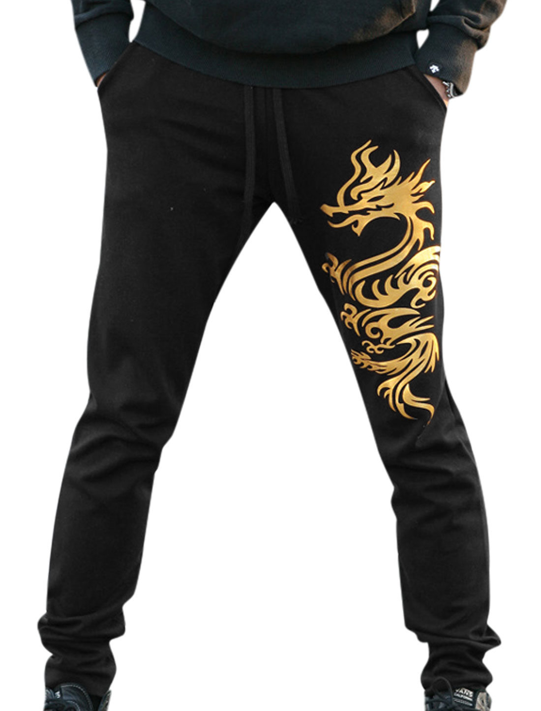 Men Dragon Prints Drawstring Elastic Waist Casual Pants Black W30