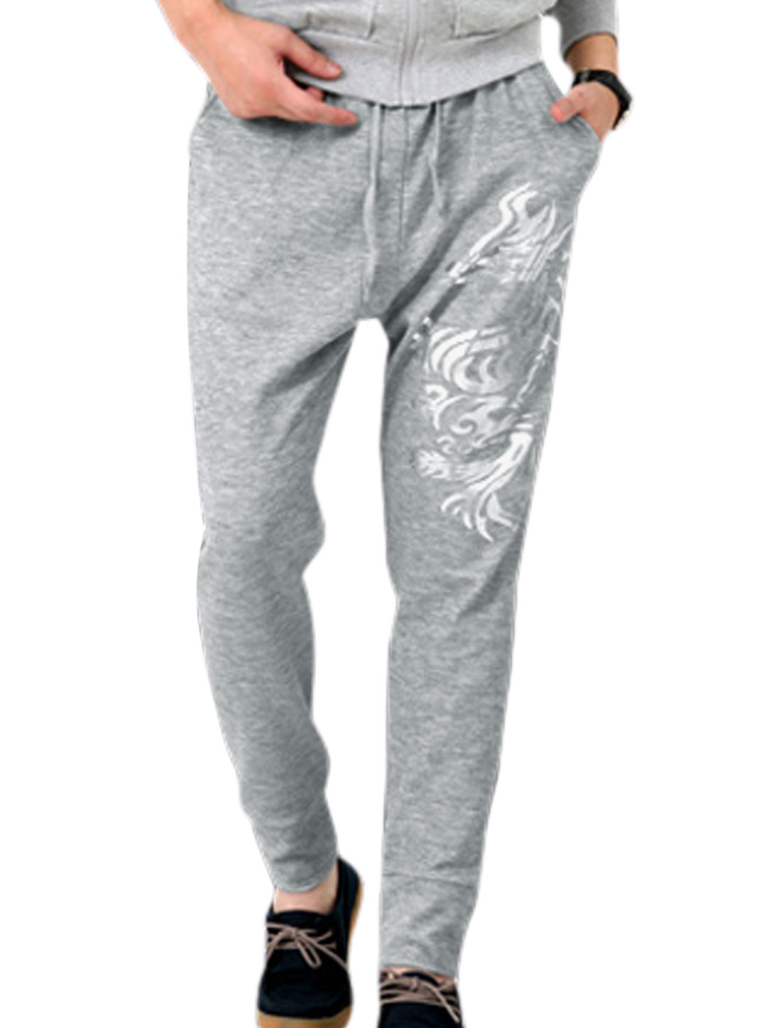 Man Fashion Stretchy Waist Dragon Prints Gray Casual Pants W30