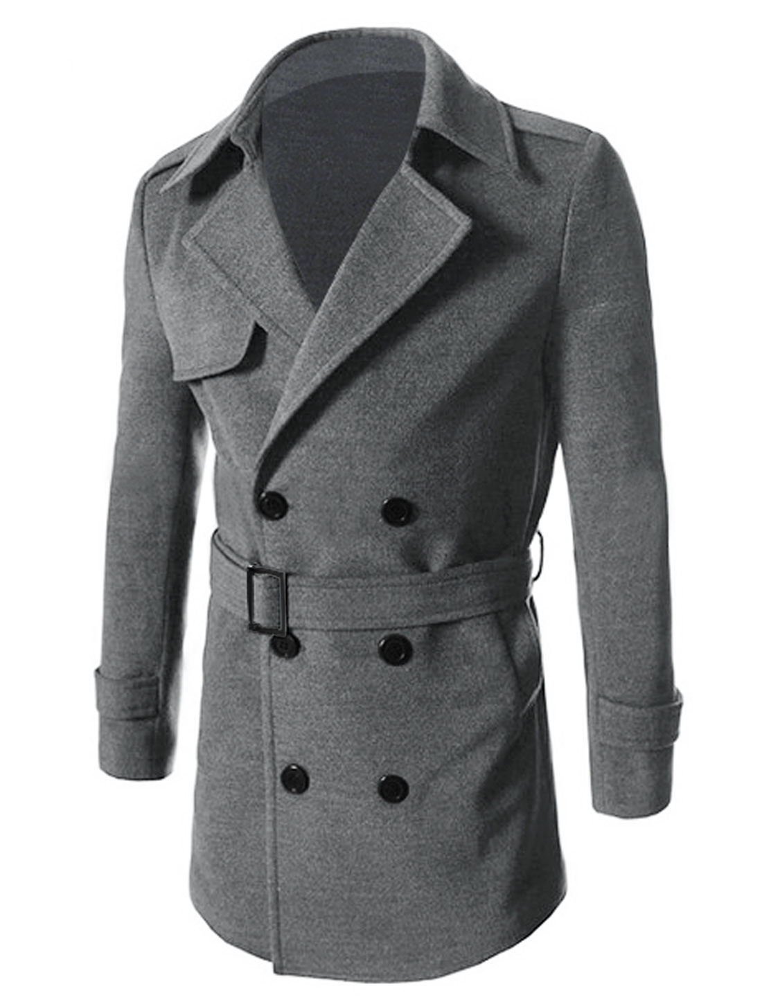 Men Turn Down Collar Button Closed Trendy Worsted Coat Dark Gray M
