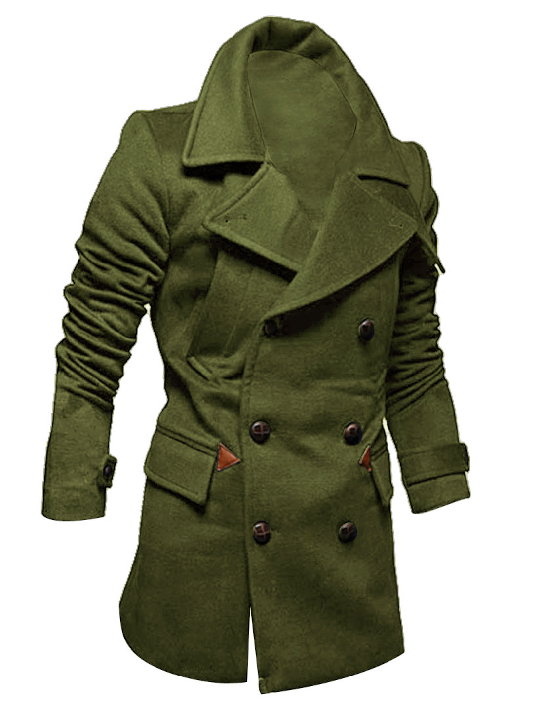Long Sleeves Single Breasted Army Green Overcoat for Man M