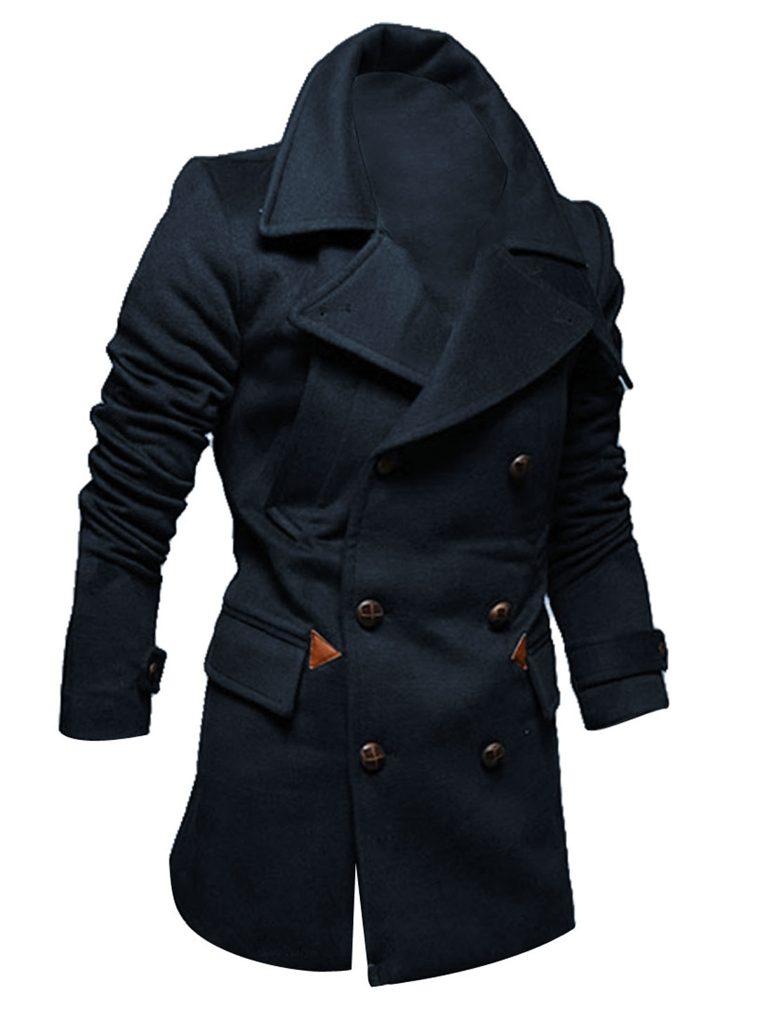 Man NEW Convertible Collar Two Pocket Navy Blue Overcoat M