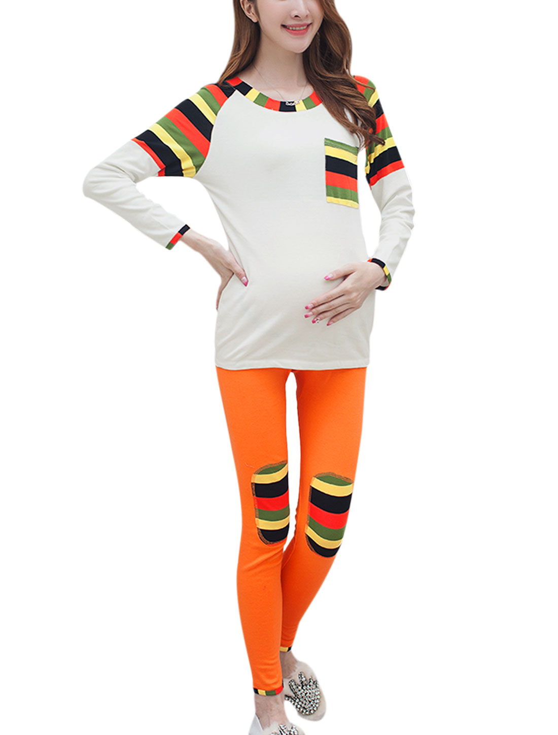 Maternity Raglan Sleeve Stripes Patch White Top w Knee Patches Orange Pants Sets XS