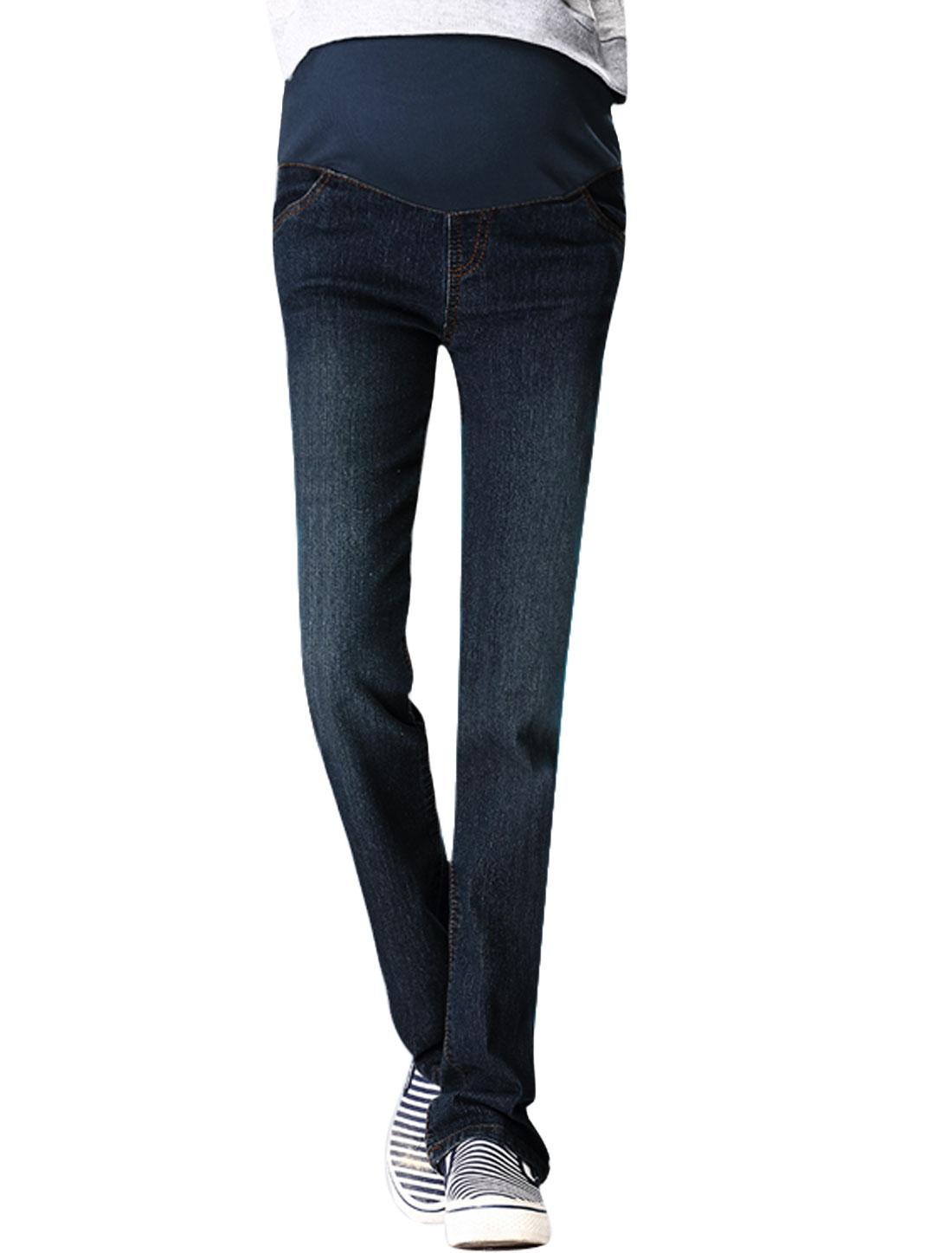 Maternity Adjustable Button Elastic Waist Straight Legs Jeans Dark Blue XS