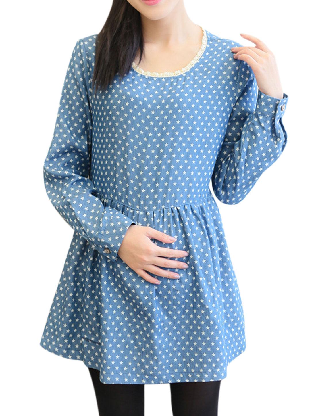 Motherhood Self Tie String Stars Pattern Crochet Trim Soft Top Light Blue M