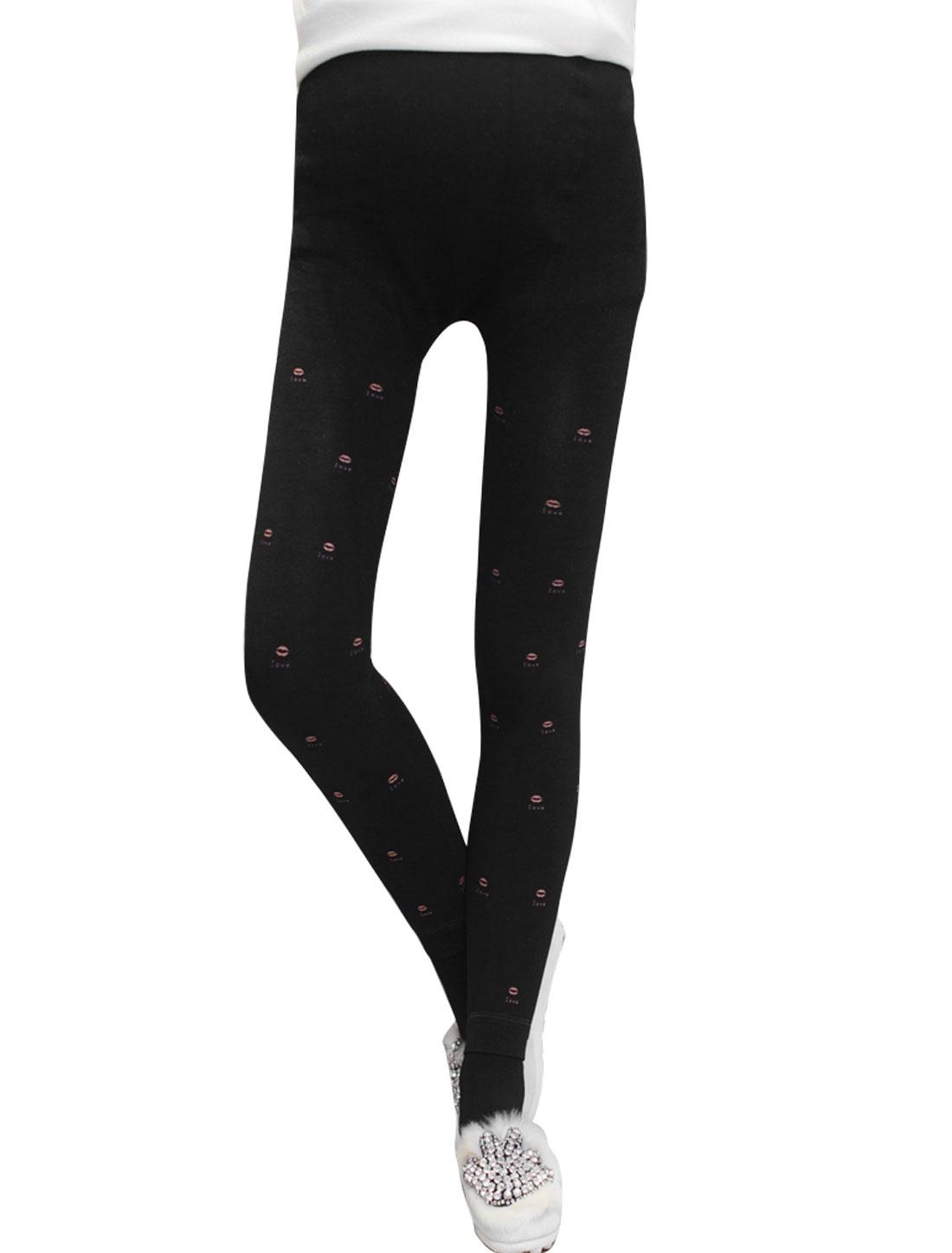Maternity Soft Lip Letter Print Detail Fleece Lined Stirrup Leggings Black XS