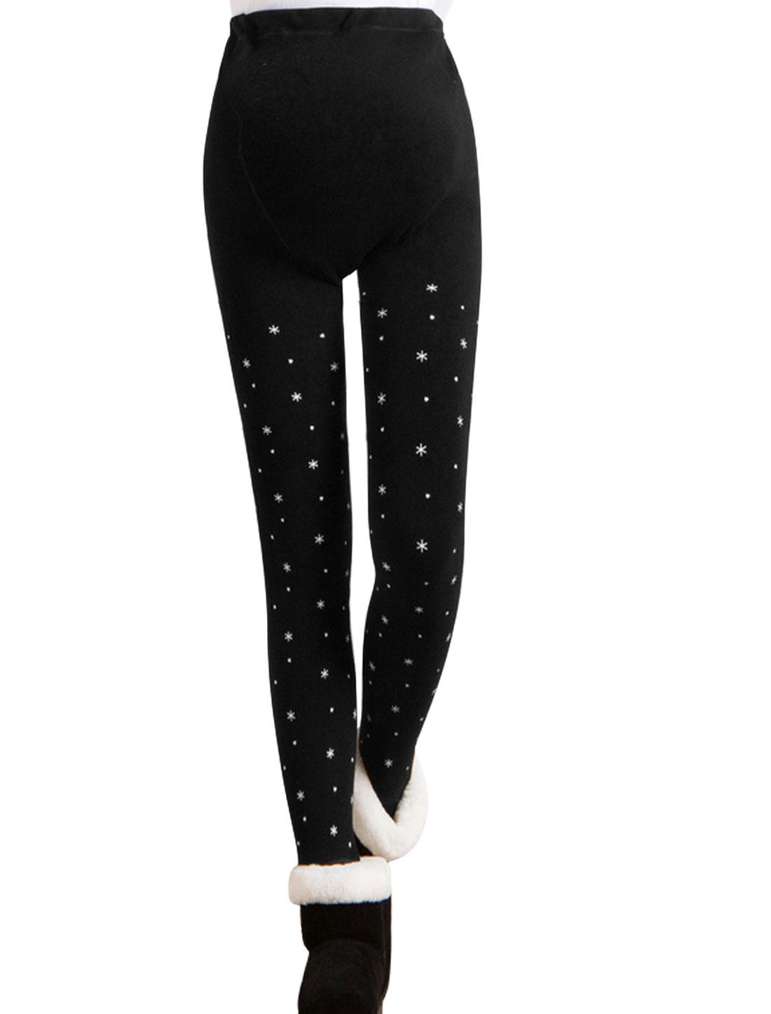 Motherhood Hearts Snowflake Print Detail Fleece Lined Stirrup Leggings White Black XS