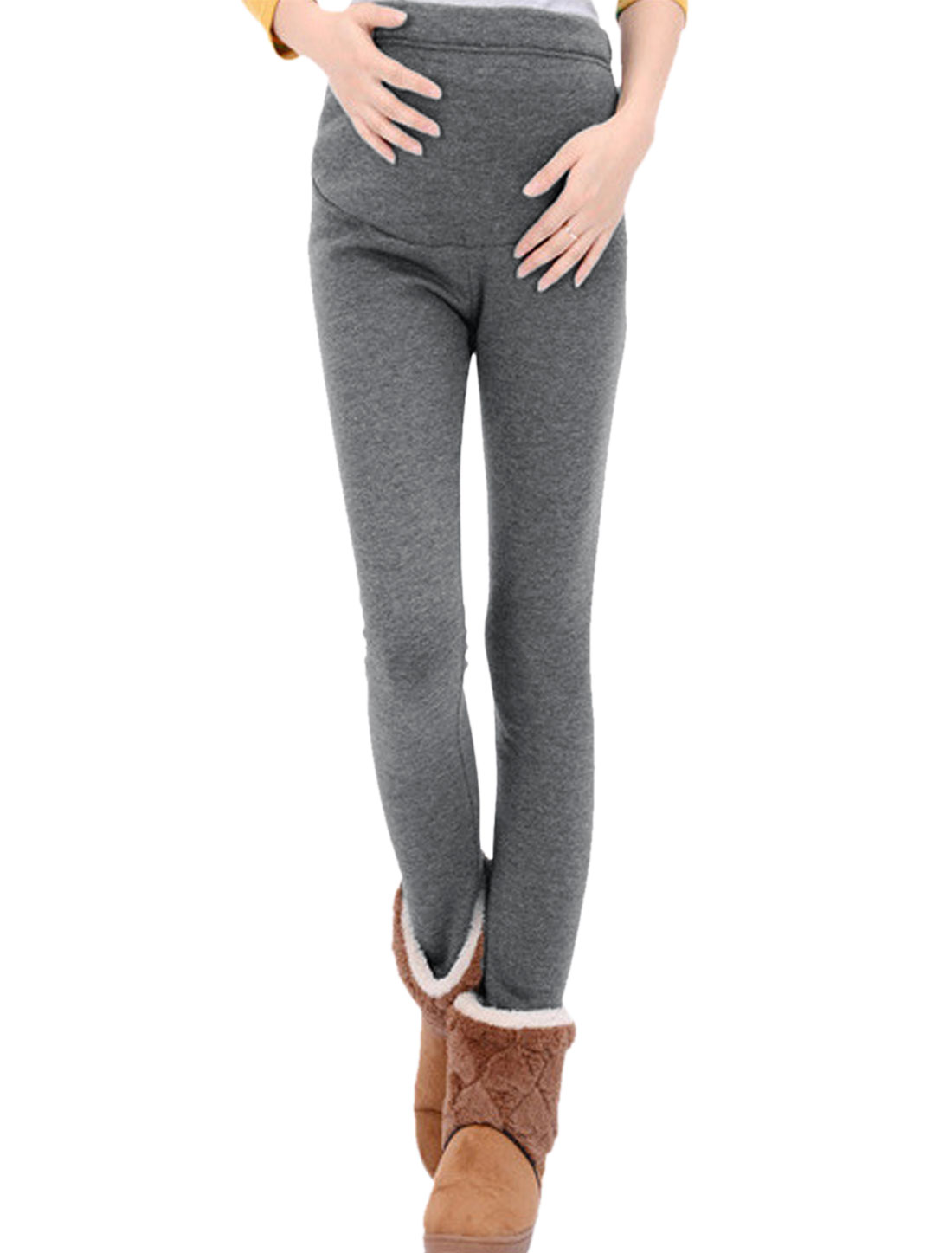 Motherhood Adjustable Button Elastic Waist Fleece Lined Leggings Dark Gray XS