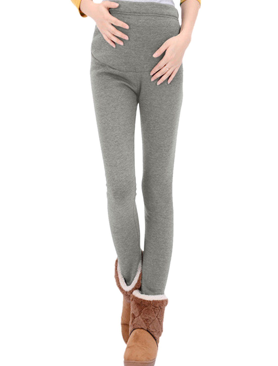Motherhood Adjustable Button Drawstring Waist Fleece Lined Leggings Light Gray XS