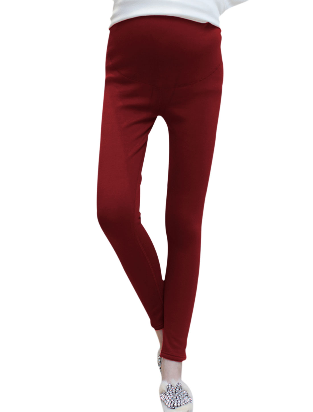 Maternity Adjustable Button Drawstring Waist Mid Rise Leggings Burgundy XS