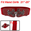 Women Snake Pattern Interlocking Buckle Elastic Belt Waistband Red