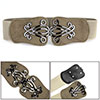 Women Snake Pattern Interlocking Buckle Elastic Belt Waistband Beige