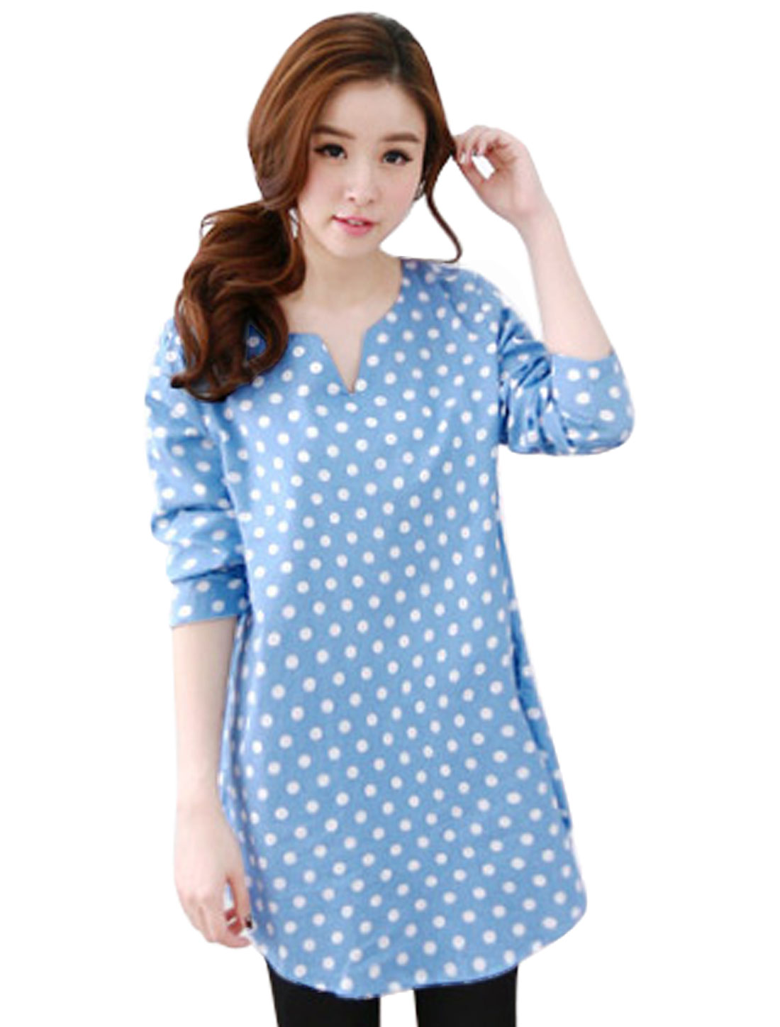 Women Sky Blue Dots Prints Pullover Low-High Hem Split Neck Leisure Tunic Top XS