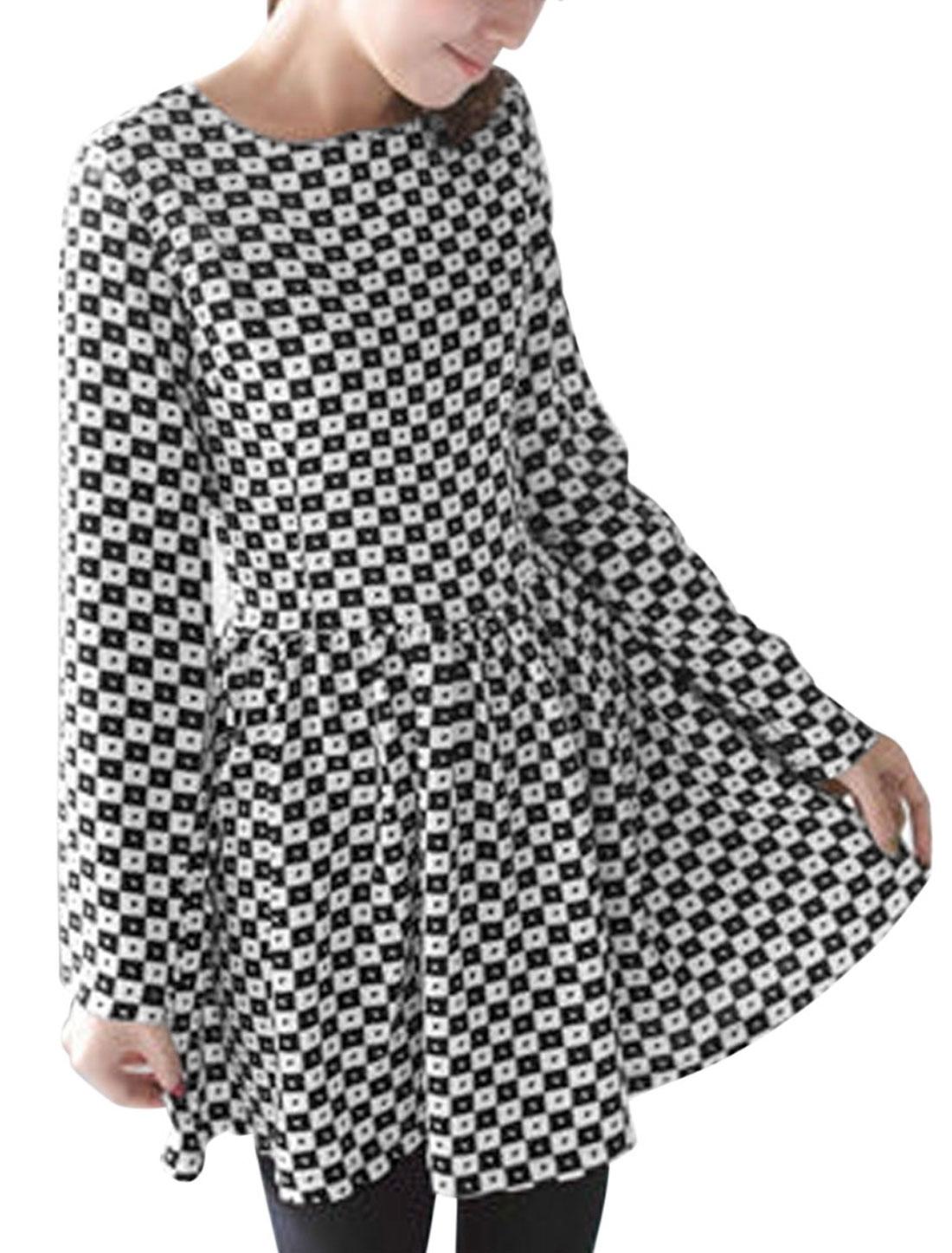 Women Hearts Pattern Long Sleeves Casual Skater Dress Black White S