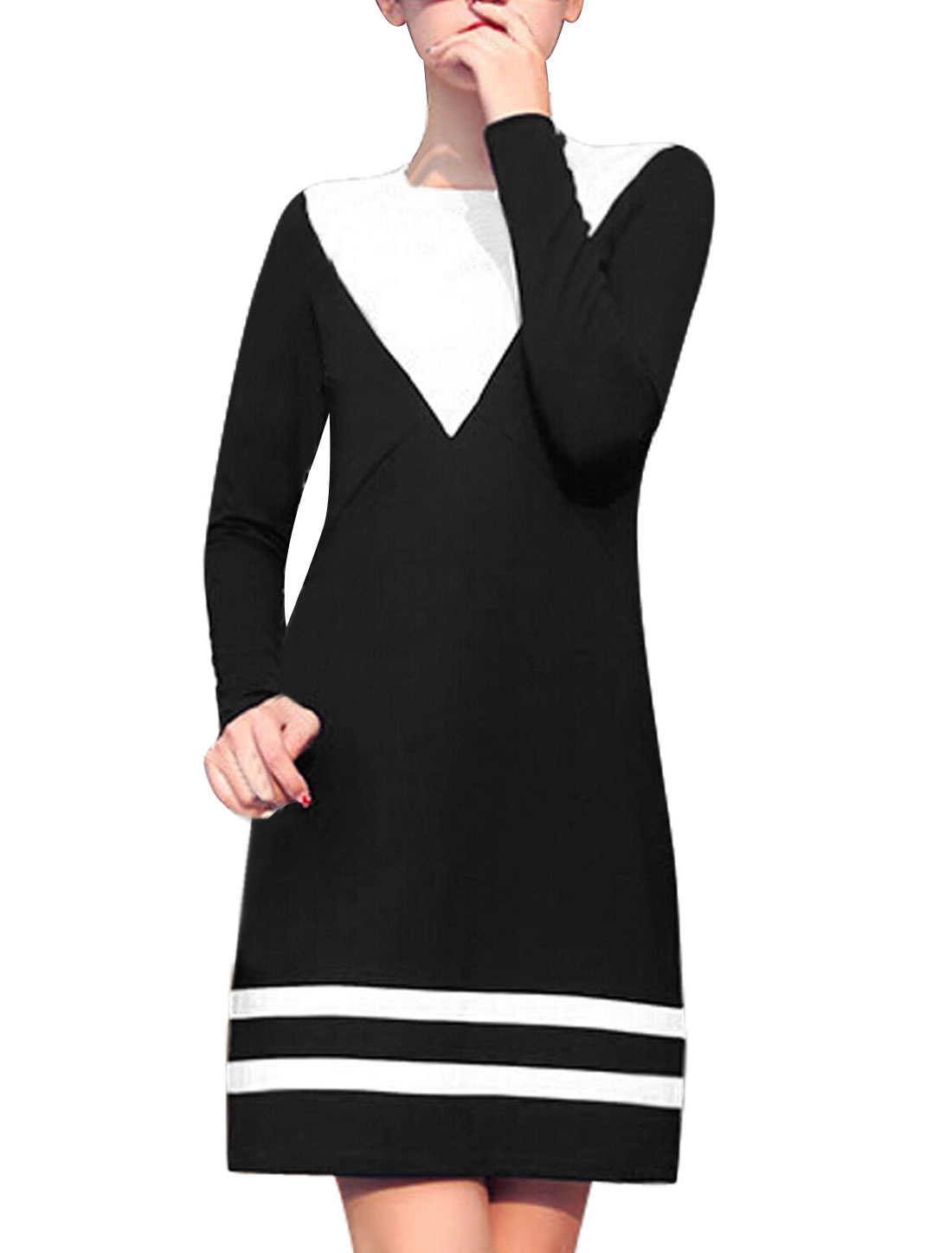 Women Black Color Block Stripes Detail Unlined Leisure Dress S