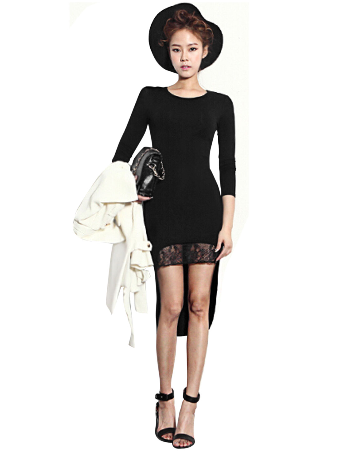 Women Round Neck Long Sleeve Lace Panel Sheath Dress Black S