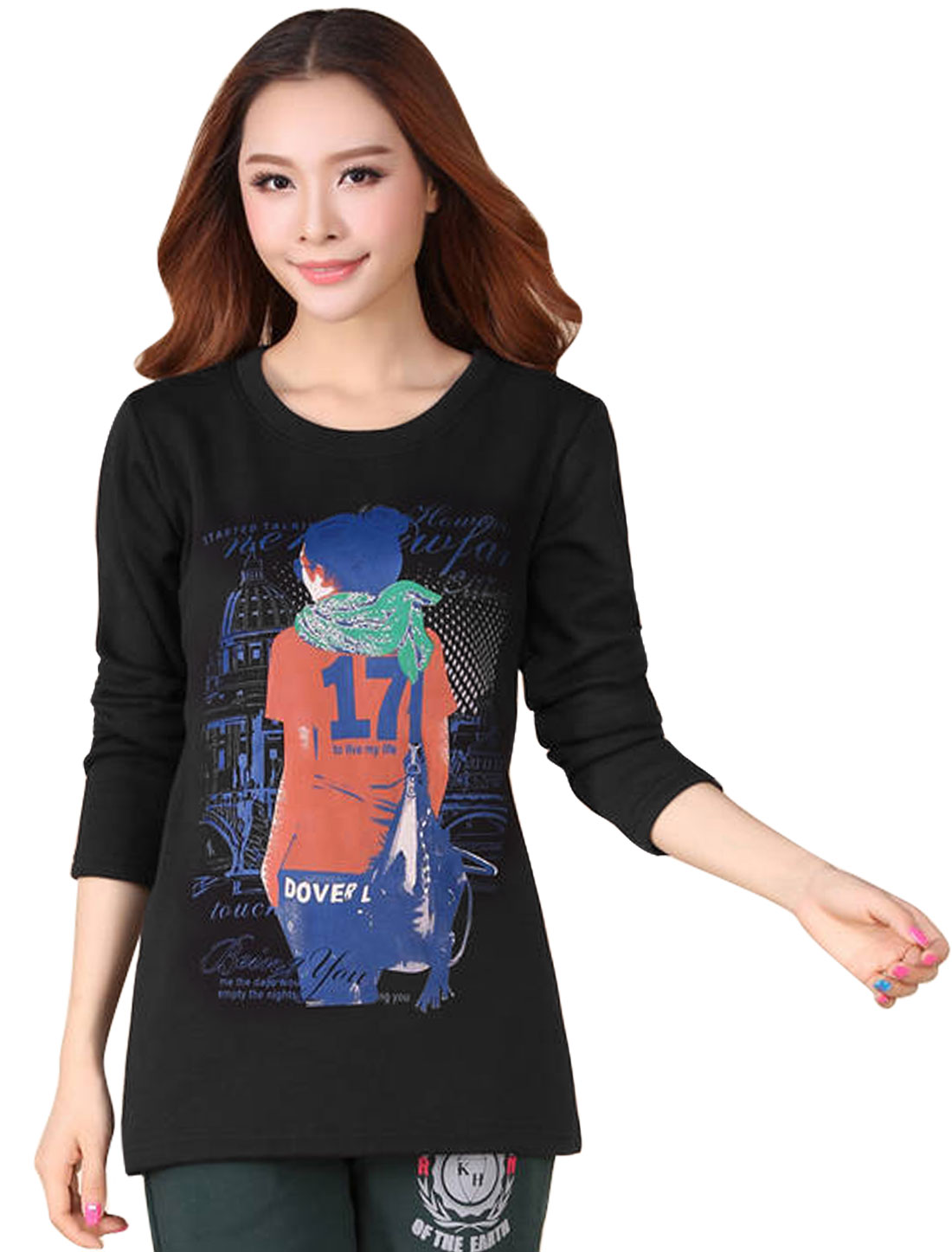 Ladies Black Pullover Portrait Prints Fleece Lining T-Shirt XS