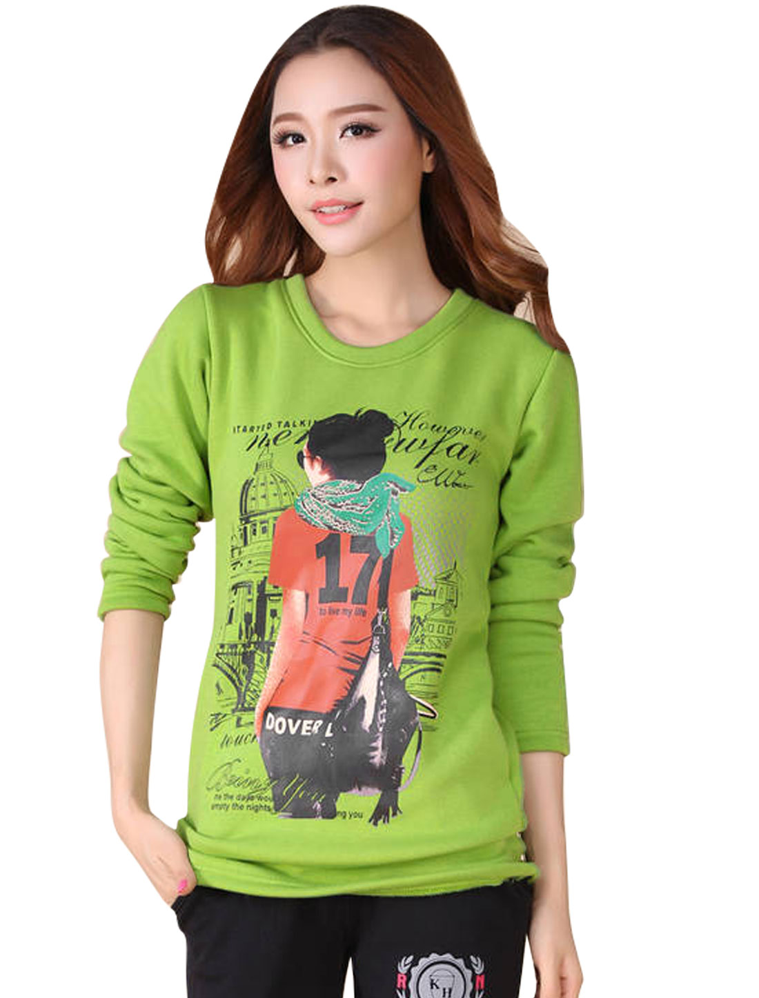 Ladies Apple Green Pullover Building Prints Round Neck Fleece Lining T-Shirt XS