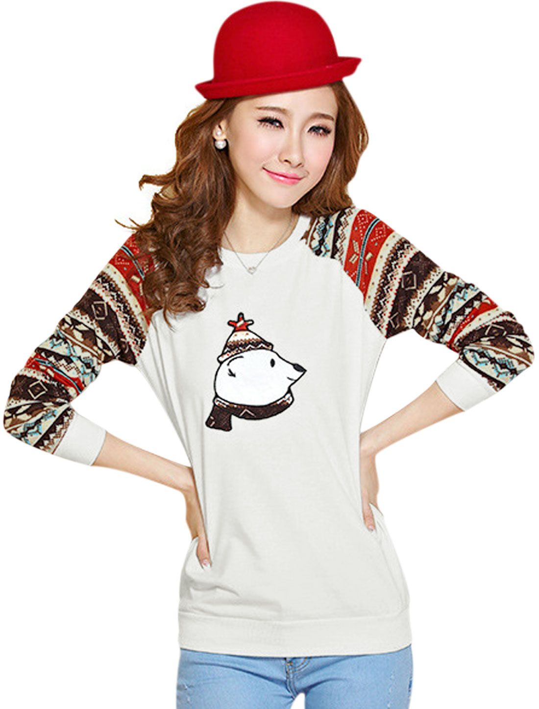 Women White Pullover Bear Geometric Prints Ribbed Cuffs Leisure Top XS