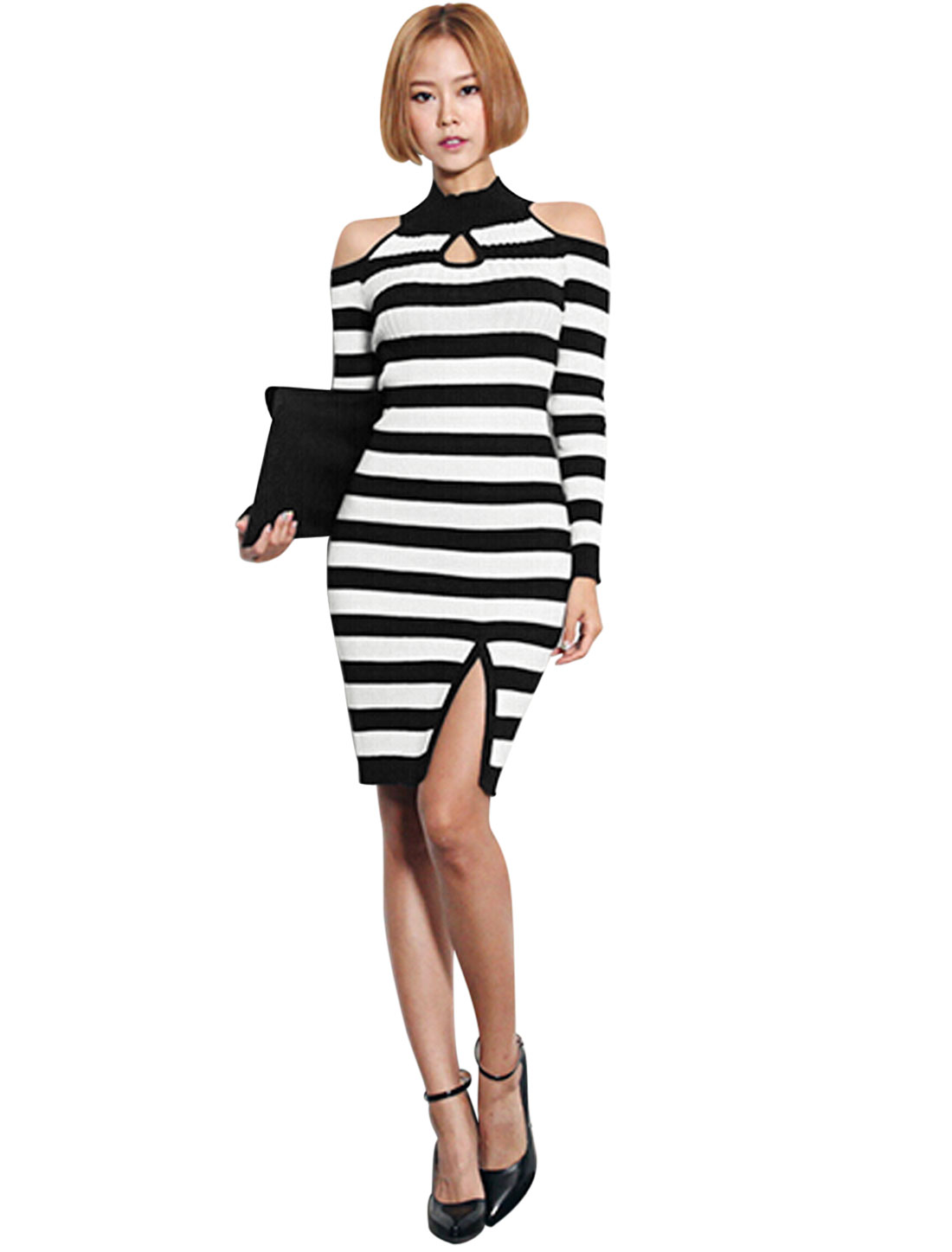 Stripes Cut Out Shoulder Mock Neck Knit Sheath Dress for Women Black White XS