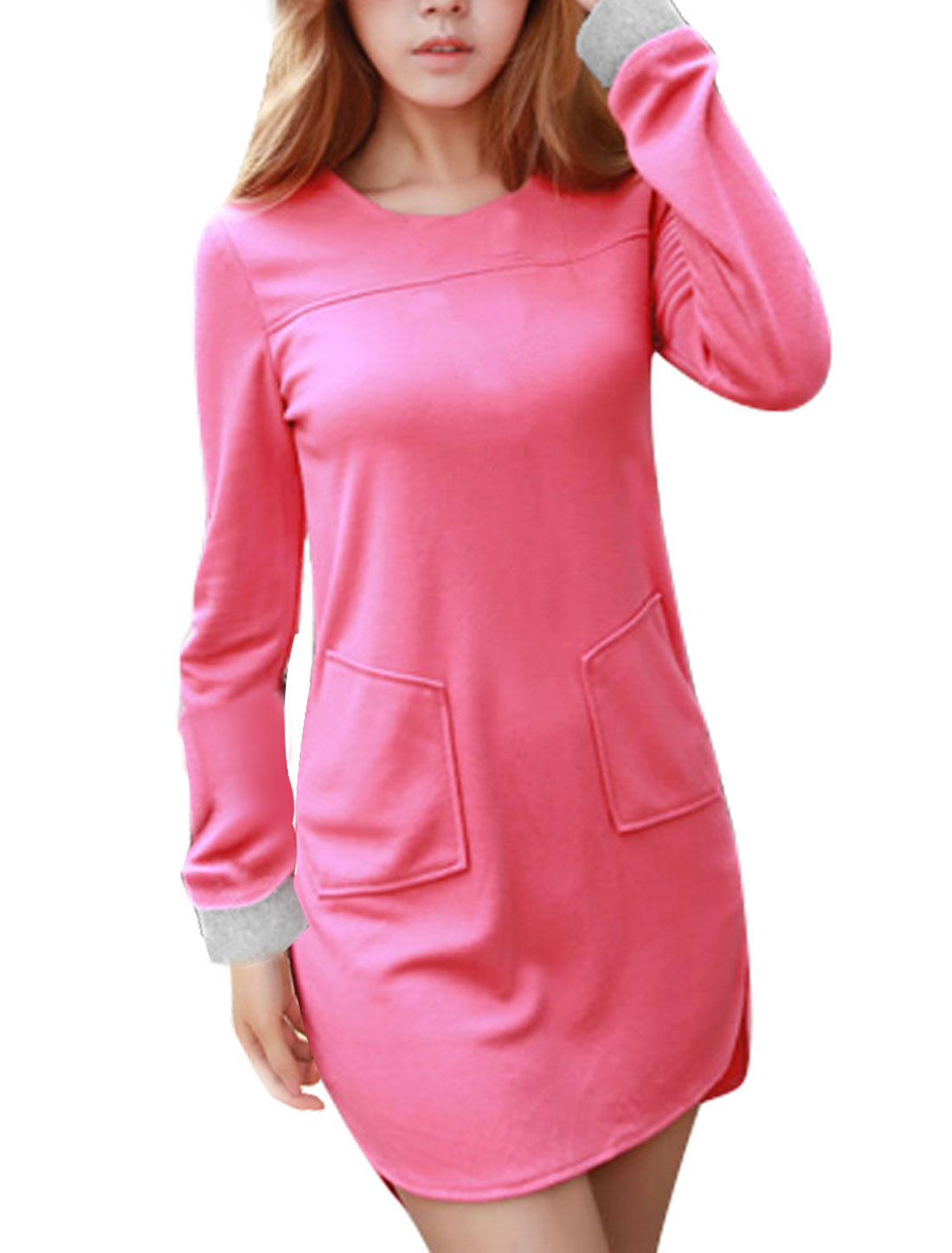 Ladies Pink Slipover Front Pockets Low-High Hem Casaul Dress XS