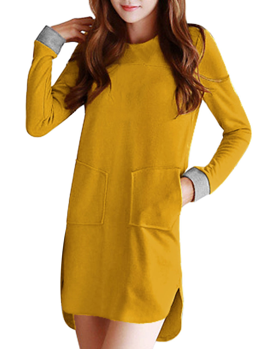 Ladies Yellow Front Pockets Low-High Hem Leisure Dress XS