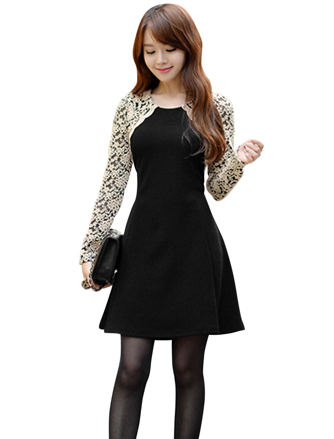 Round Neck Lace Panel Pullover Casual A-Line Dress for Women Black S