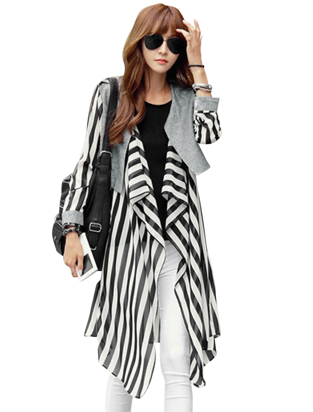 Women Stripes Panel Long Chiffon Cardigan w Waist String Black White S