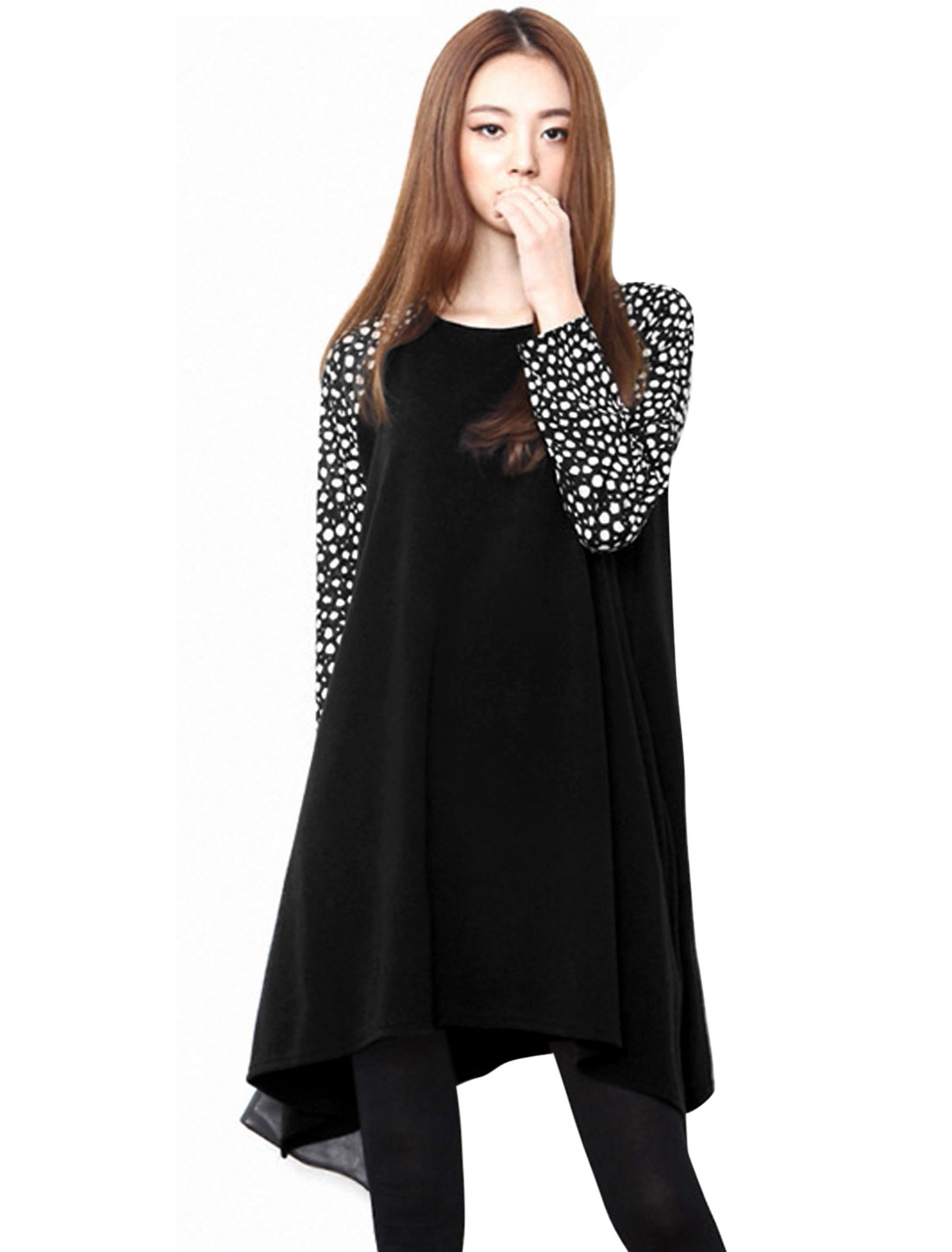 Women Raglan Sleeves Asymmetric Hem Casual Knit Dress Black S