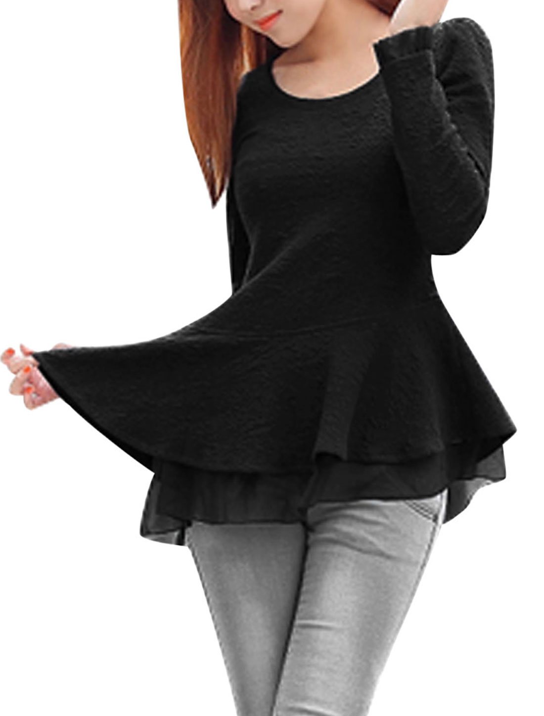 Ladies Black Pullover Chiffon Splice Texture Cut Out Back Peplum Top S