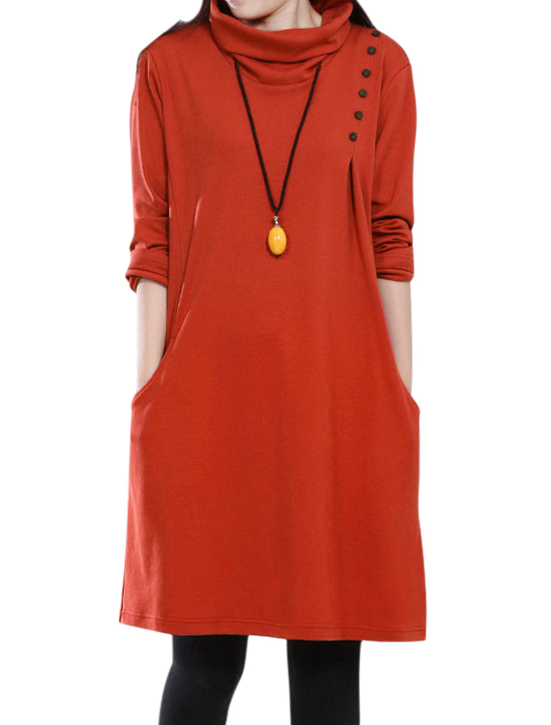 Ladies Orange Red Slipover Front Pockets Turtle Neck Loose Leisure Dress S