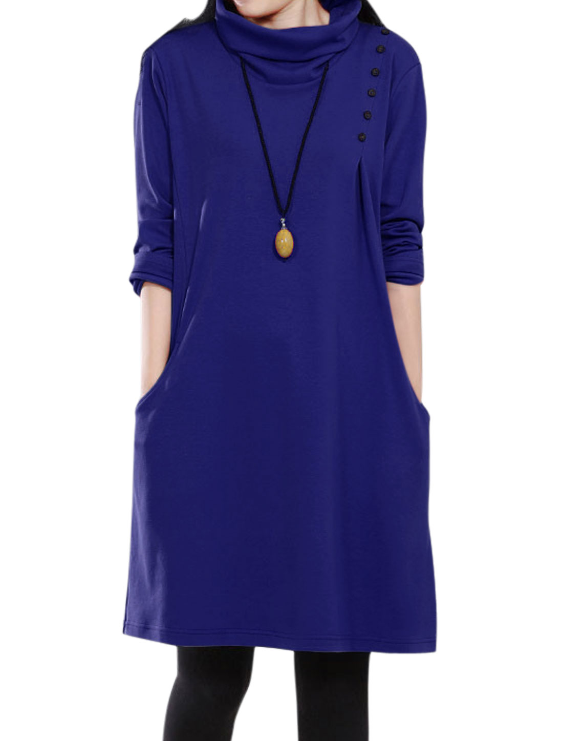 Ladies Blue Slipover Front Pockets Button Decor Loose Casaul Dress S