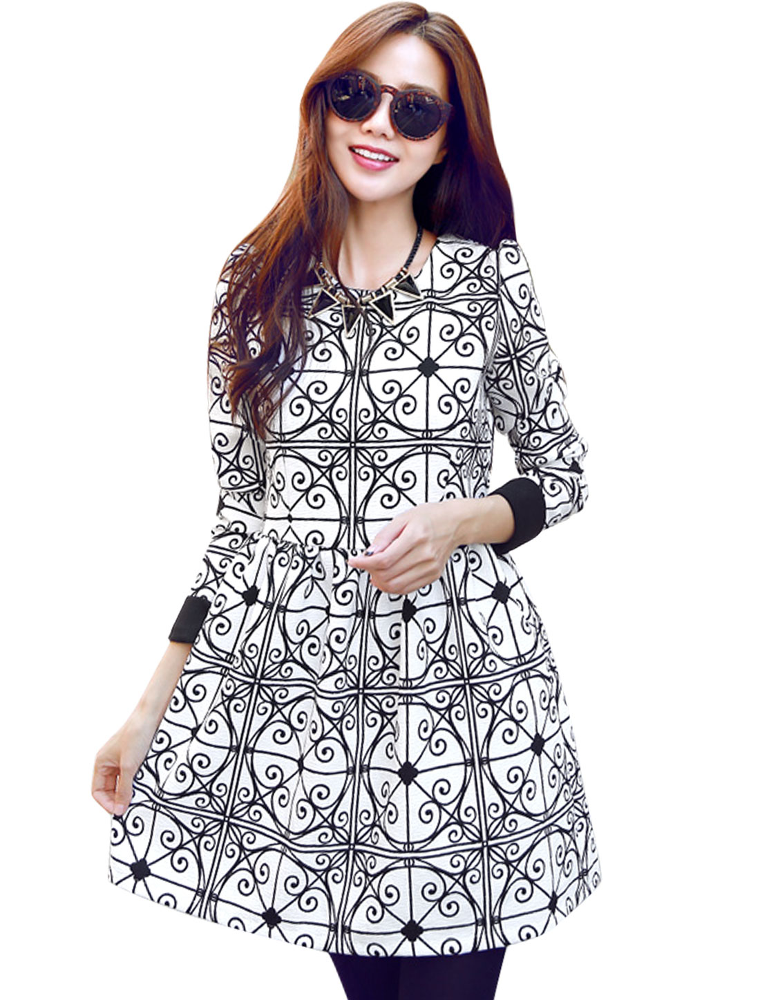Women White Pullover Zip Fly Back Ruched Detail Novelty Prints Dress S