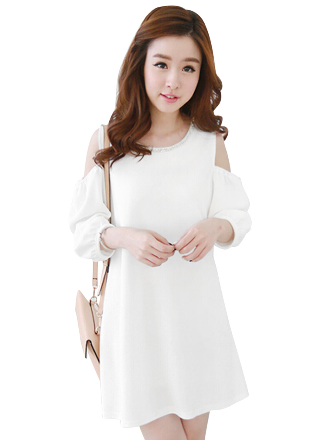 Ladies White Pullover Cut Out Shoulder Texture Mesh Splice Dress XS