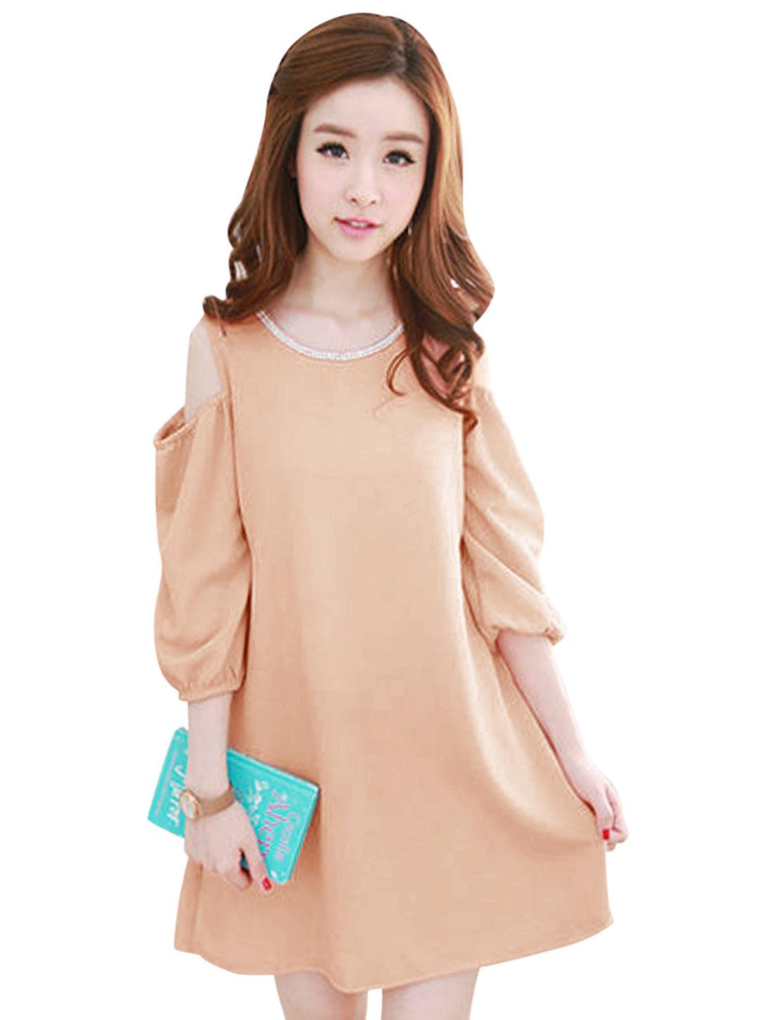 Ladies Pale Pink Slipover Cut Out Shoulder Texture Mesh Splice Dress XS