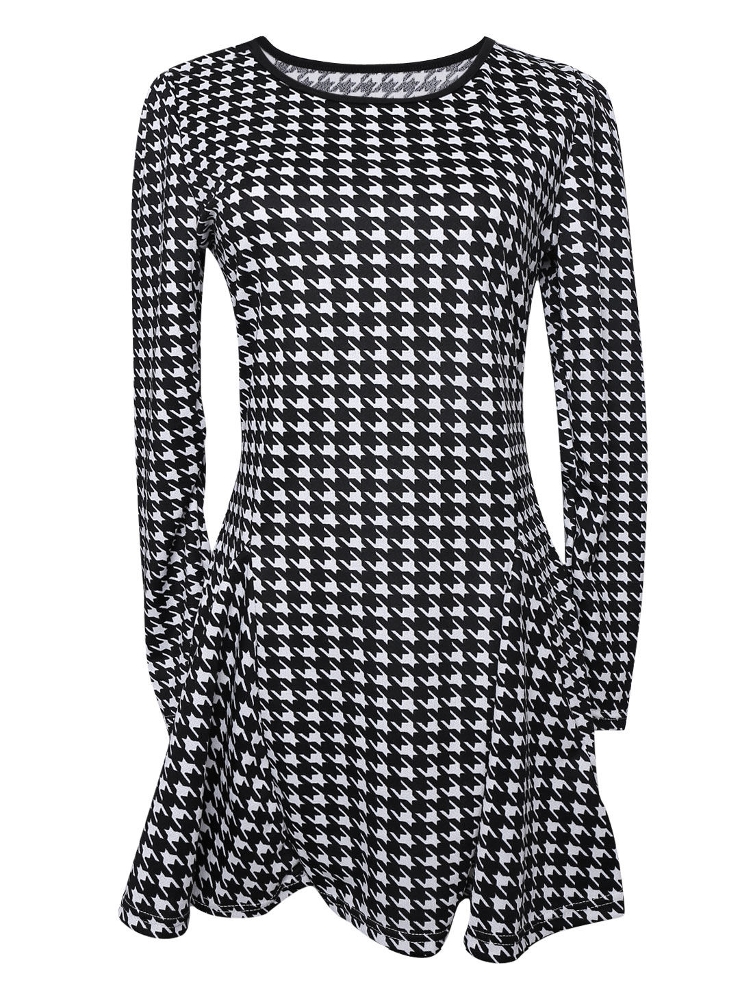 Ladies Black White Pullover Houndstooth Prints Ruched Detail Casual Dress M