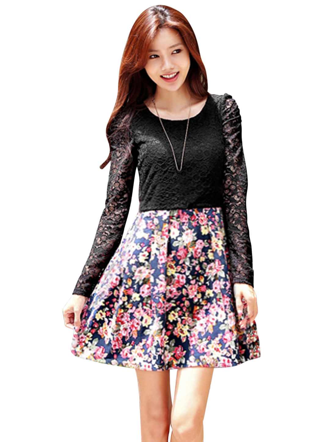 Round Neck Floral Prints Casual A-Line Dress for Women Black Navy Blue S