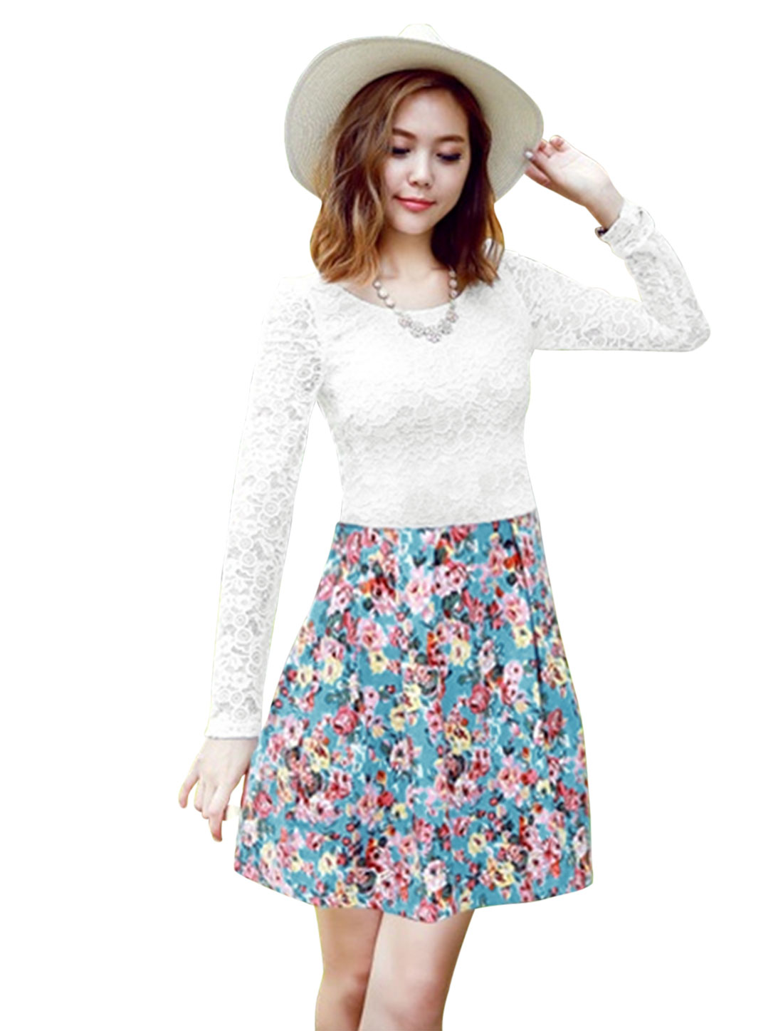 Round Neck Flower Prints A-Line Dress for Women White Light Blue S